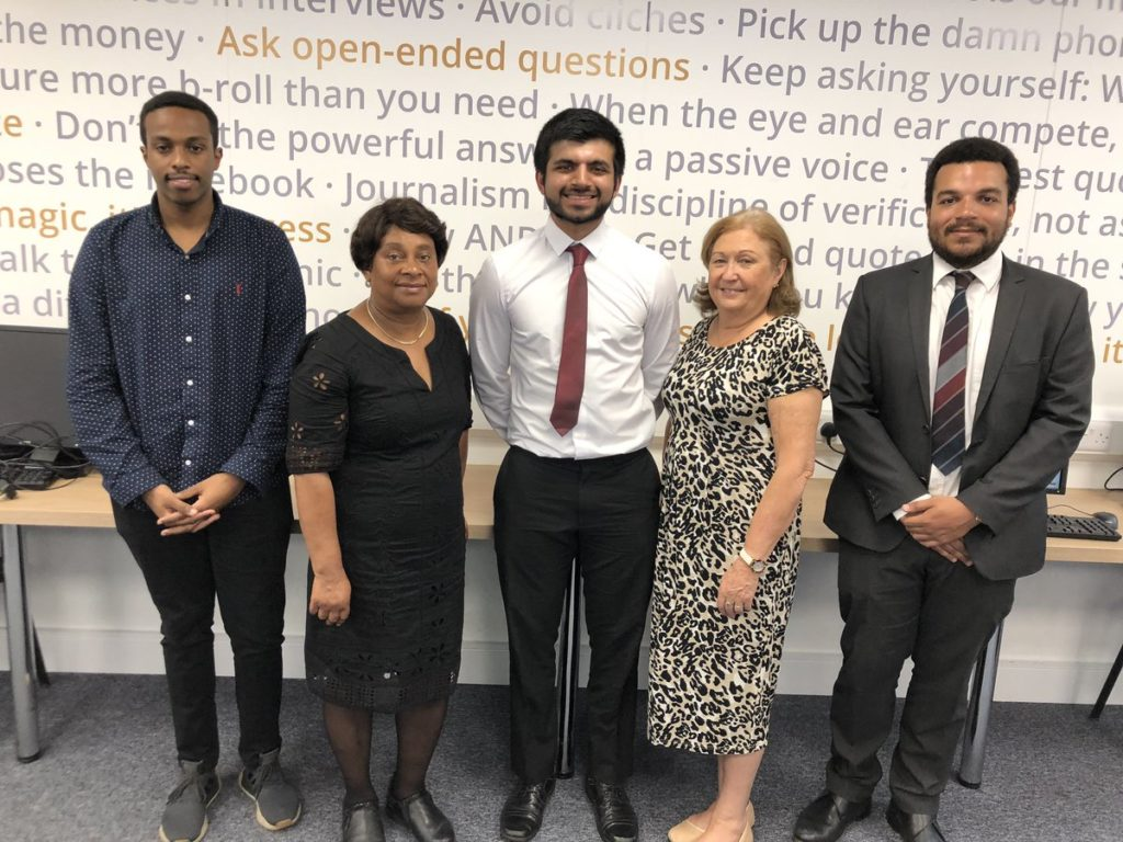 Kamal Sultan, recipient of the Daily Mail Stephen Lawrence Scholarship training at News Associates, Baroness Lawrence, Kumail Jaffer, former News Associates trainee now at the Daily Mail benefiting from the Stephen Lawrence Scholarship scheme, Daily Mail training manager Sue Ryan and Courtney Bartlett, former recipient of the Stephen Lawrence Scholarship now Daily Mail night news editor