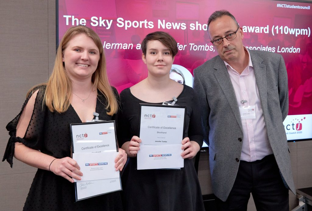 News Associates sports journalism graduate accepting the Sky Sports News shorthand award (110 wpm)