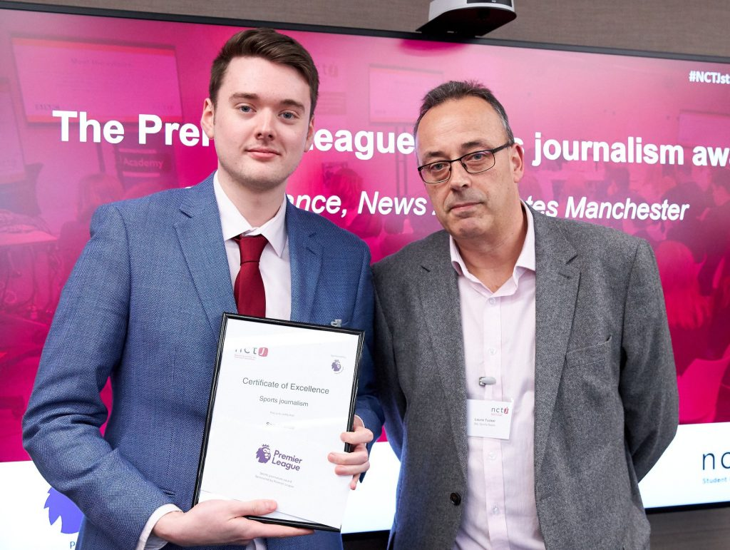 News Associates sports journalism graduate accepting the Premier League sports journalism award