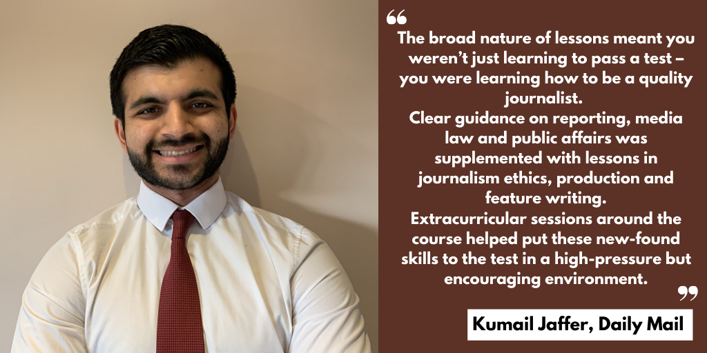 A testimonial from Kumail Jaffer praising the quality teaching and encouraging environment at News Associates.