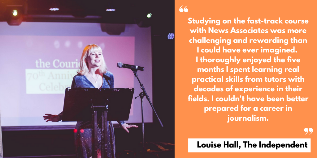 A testimonial from Louise Hall saying the course was challenging but rewarding.