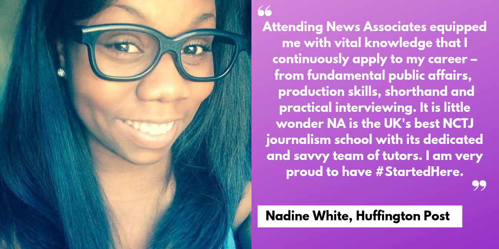 A testimonial from Nadine White saying the course equipped her with vital knowledge she continuously applies to her career.