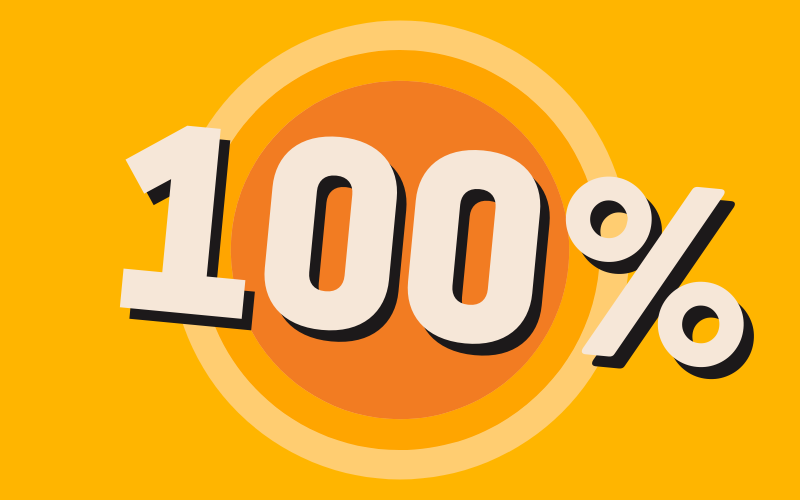 A bright orange graphic with a target in the middle and huge text saying 100%.