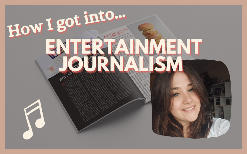 "'How I got into... ENTERTAINMENT JOURNALISM"" graphic. Photo of Beth Kirkbride in bottom left, with The Indiependent magazine in the background."