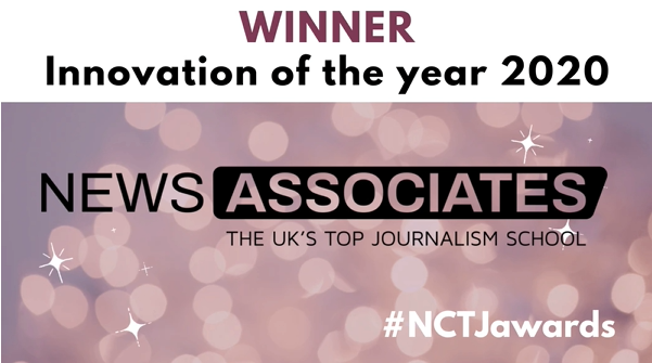 Graphic announcing News Associates as the Winner of NCTJ Innovation of the Year award 2020 at the #NCTJawards.