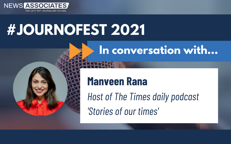 In conversation with Manveen Rana JournoFest 2021 graphic, with photo of Manveen on the left on a blue background