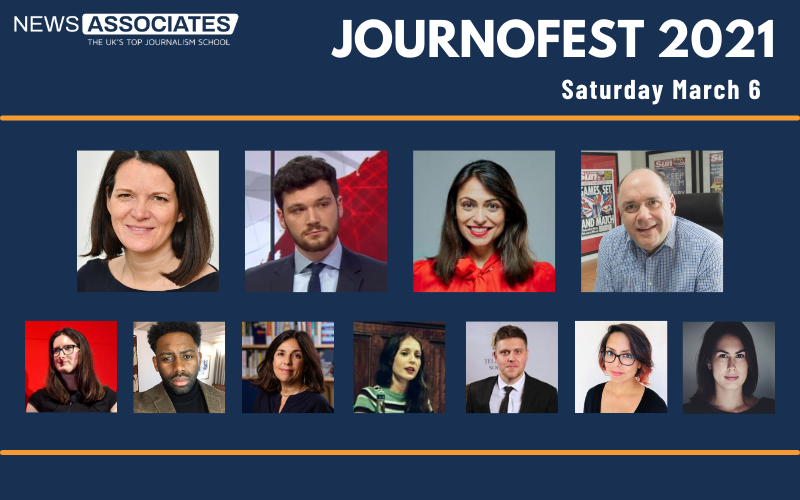 Graphic of JournoFest 2021 lineup, Saturday March 6. News Associates logo in top left, graphic is against a navy blue background. Circular thumbnail photos of 10 guest speakers: Pippa Crerar, Henry Zeffman, Manveen Rana, Alan Muir, Renata Brito, Charlotte Tobitt, Richard Amofa, Katharine Quarmby, Hardeep Matharu, Laura Garcia and Daniel Hewitt.
