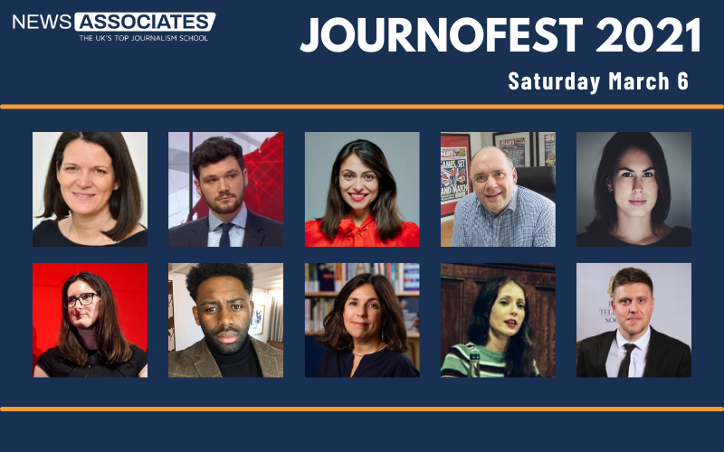 Graphic of JournoFest 2021 lineup, Saturday March 6. News Associates logo in top left, graphic is against a navy blue background. Circular thumbnail photos of 10 guest speakers: Pippa Crerar, Henry Zeffman, Manveen Rana, Alan Muir, Renata Brito, Charlotte Tobitt, Richard Amofa, Katharine Quarmby, Hardeep Matharu and Daniel Hewitt.