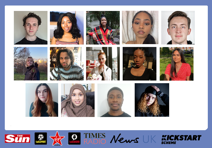 A graphic showing thumbnails of the 14 News UK interns. The headshots are on a white background and there is a row of News UK logos along the bottom.