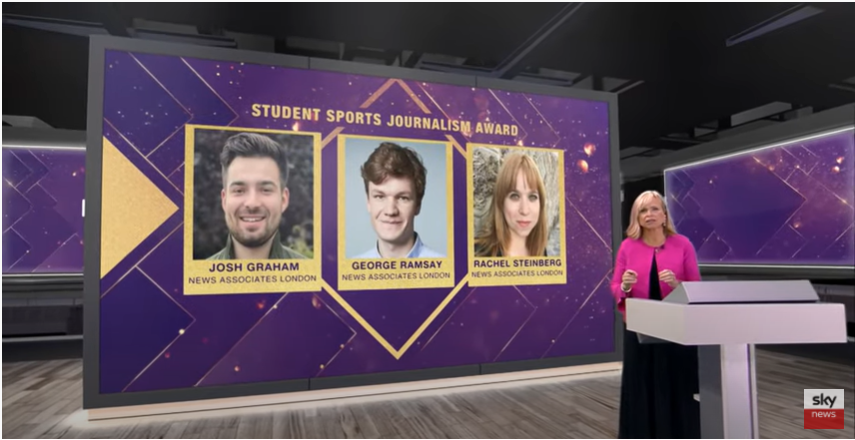 A YouTube screen grab of a Sky News live stream showing Alex Botting in a long dark blue dress with a bright pink cropped cardigan in the studio in front of a large purple graphic showing the three News Associates graduates shortlisted for the NCTJ student sports journalist of the year award - Josh Graham, George Ramsay and Rachel Steinberg.