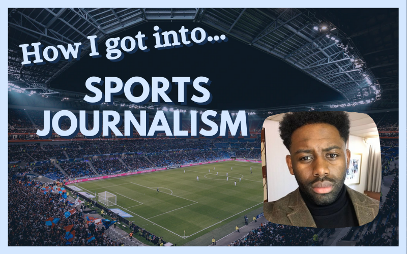 How I got into sports journalism graphic, with photo of Richard Amofa on the right and football stadium in the background