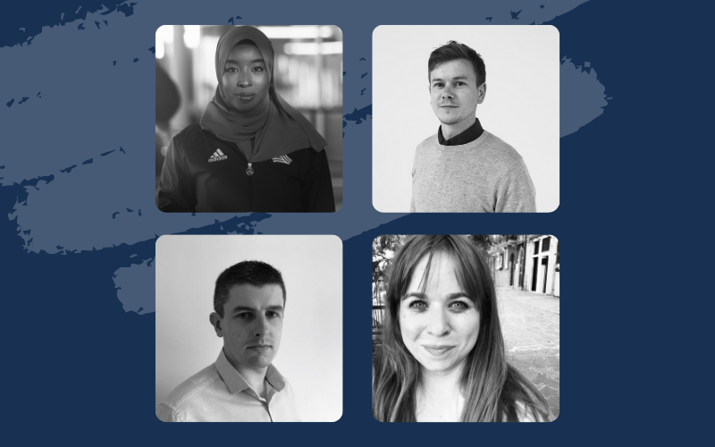 Sports journalism panel members photos against a blue background. Fadumo, Lawrence, Rachel and Liam in clockwise order from top left, all in black and white.