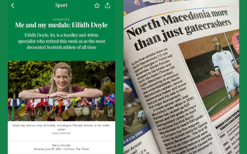 Screenshots and photos of Times Sports pieces written by our sports trainees, including an interview with an Olympic hurdler and a guide to the Euros