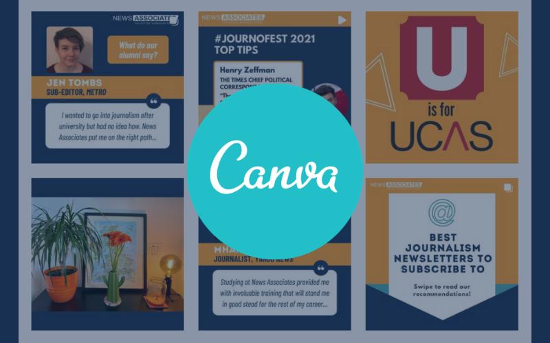 Screenshot of News Associates Instagram, with Canva logo on top